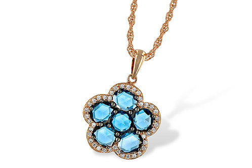Rose Gold Blue Topaz & Diamond Necklace