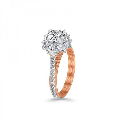 Daviani 19k Two-Tone Flower Double Halo Diamond Engagement Ring