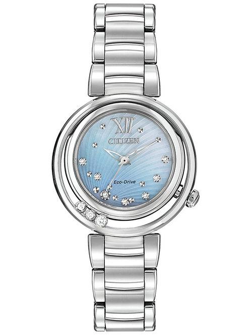 Citizen Women's Eco-Drive L Series Sunrise Diamond Accent SS Bracelet Watch
