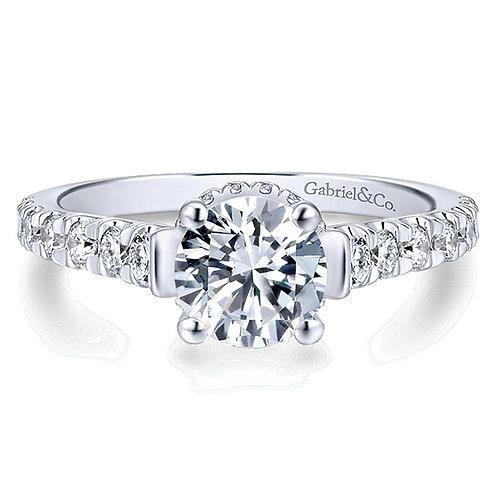 Gabriel & Co. Matilda 14k White Gold Round Straight Engagement Ring