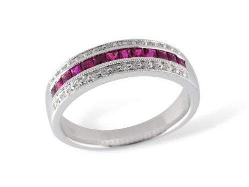 Allison Kaufman 14k White Gold Ruby and Diamond Fashion Ring