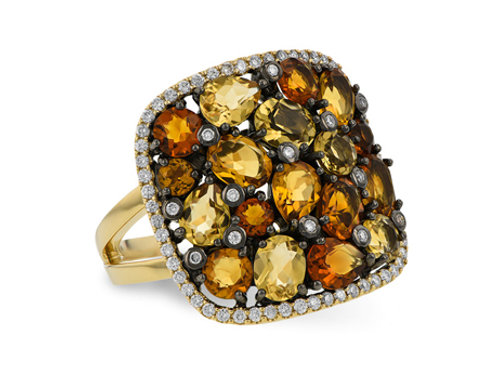 Allison Kaufman 14k Yellow Gold Citrine and Diamond Fashion Ring
