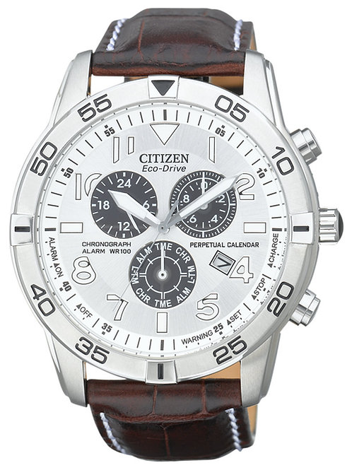 Citizen Men's Eco-Drive Perpetual Calendar Chronograph Brown Leather Strap Watch