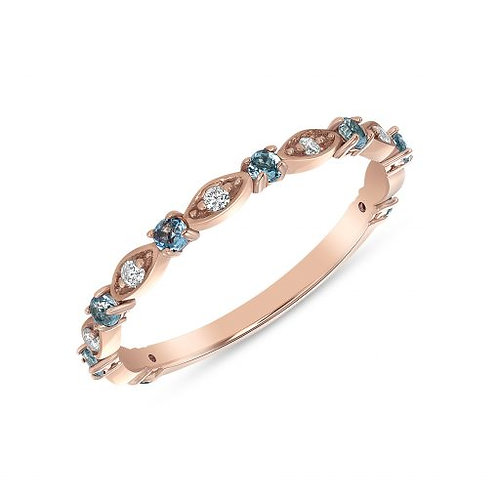 Rose Gold Aquamarine & Diamond Stackable Ring