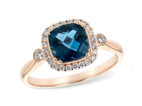Allison Kaufman 14k Gold London Blue Topaz and Diamond Fashion Ring