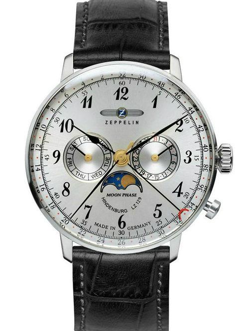 Zeppelin 7036-1 Hindenburg Swiss Quartz Moonphase Calendar Watch