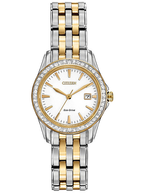Citizen Women's Silhouette Crystal Eco-Drive Two-Tone Stainless Steel Watch