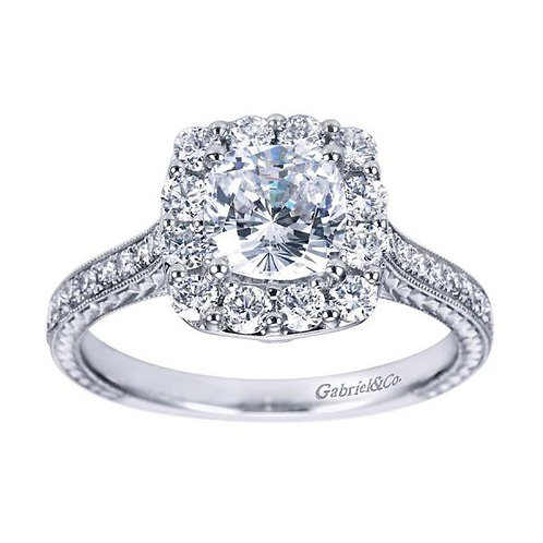 Gabriel & Co. Zelda 14k White Gold Cushion Cut Halo Engagement Ring