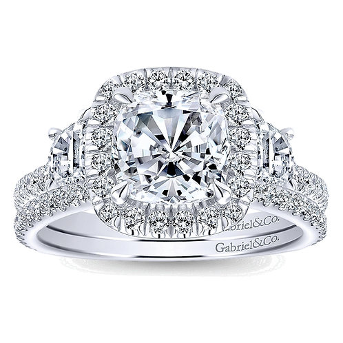 Gabriel & Co. Mia 14k White Gold Cushion Cut 3 Stones Halo Engagement Ring