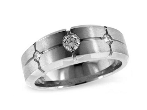 Allison Kaufman 14k White Gold Gents Diamond Wedding Ring