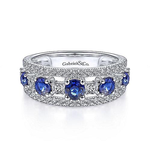 14K White Gold Round Sapphire and Diamond Ring