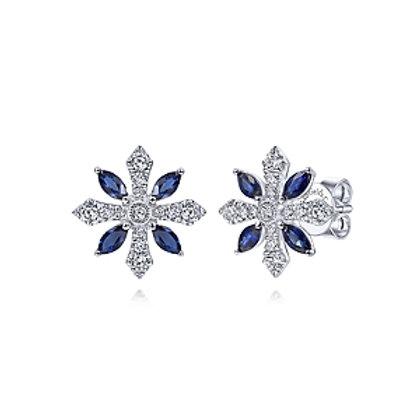 14K White Gold Diamond and Sapphire Flower Stud Earrings
