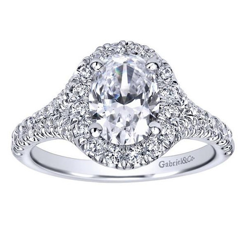 Gabriel & Co. Kennedy 14k White Gold Oval Halo Engagement Ring