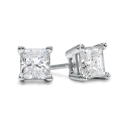 14k White Gold 2 Carat TW Princess Cut Diamond Stud Earrings