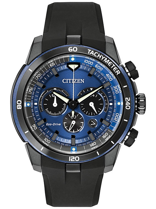 Citizen Men's Chronograph Eco-Drive Ecosphere Black Polyurethane Strap Watch