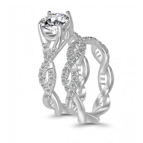 Daviani 19k White Gold Twist Style Engagement Ring