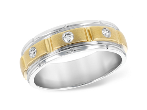Allison Kaufman 14k Two-Tone Gents Diamond Wedding Ring