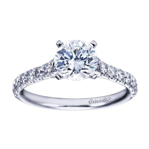 Gabriel & Co. Erica 14k White Gold Round Straight Engagement Ring