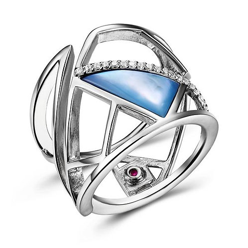 ELLE Jewelry Charisma Blue Mother Of Pearl Silver Ring