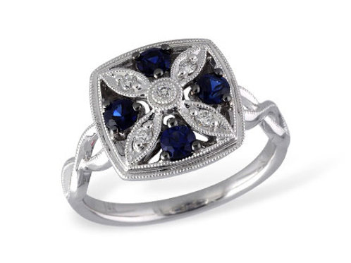 Allison Kaufman 14k White Gold Sapphire and Diamond Fashion Ring