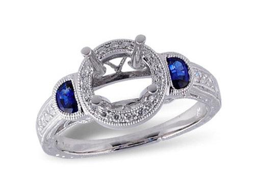 Allison Kaufman 14k White Gold Sapphire and Diamond Engagement Ring