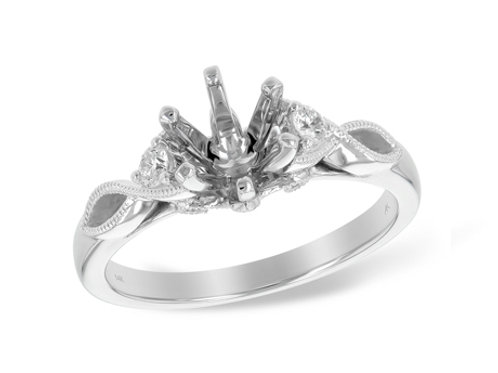 Allison Kaufman 14k White Gold 3 Stone Engagement Ring