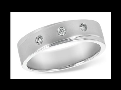 Allison Kaufman 14k White Gold Gents Diamond Wedding Ring
