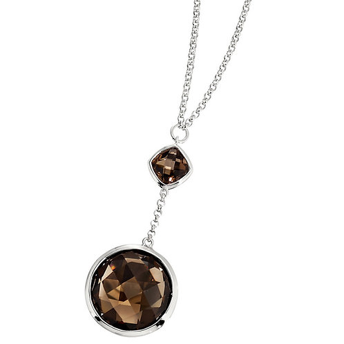 ELLE Jewelry Chocolate Sterling Silver Smoky Quartz Necklace