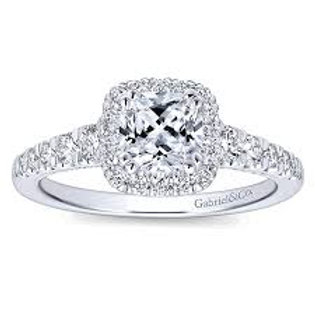 Gabriel & Co. Balsam 14k White Gold Cushion Cut Halo Engagement Ring