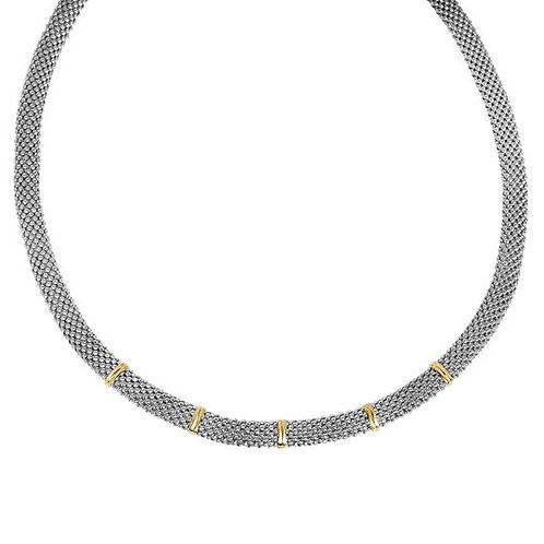 Sterling Silver & 18k Yellow Gold Popcorn Necklace