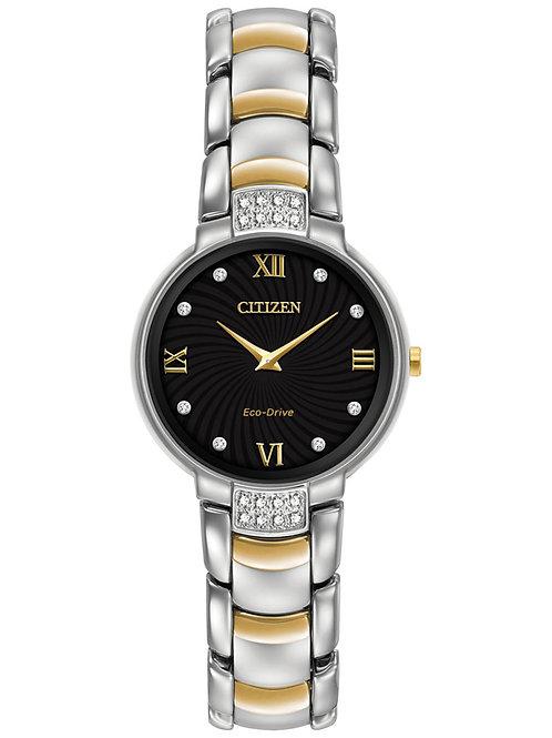 Citizen Women's Eco-Drive Diamond Accent Two-Tone Stainless Steel Bracelet Watch