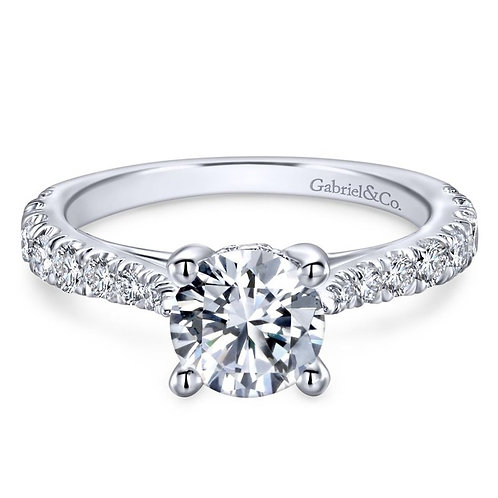 Gabriel & Co. Avery 14k White Gold Round Straight Engagement Ring