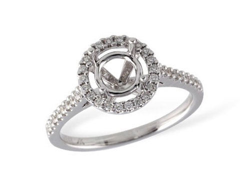Allison Kaufman 14k White Gold Halo Engagement Ring
