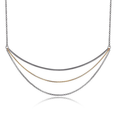 ELLE Jewelry Waterfall Sterling Silver Two Tone Necklace