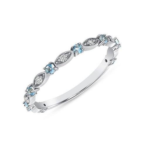White Gold Aquamarine & Diamond Stackable RIng