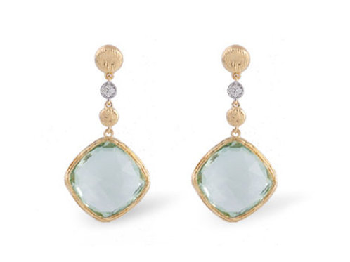 Allison Kaufman 14k Rose Gold Green Amethyst and Diamond Earrings