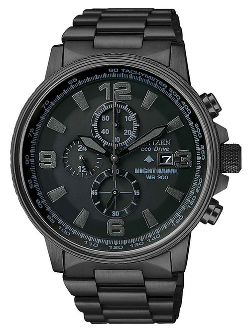 Citizen Men's Chronograph Eco-Drive Nighthawk Black Ion Plated SS Watch