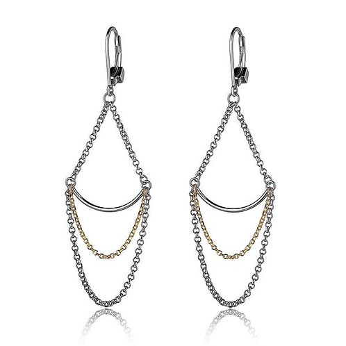 ELLE Jewelry Waterfall Silver and Gold Draped Lever Back Earrings