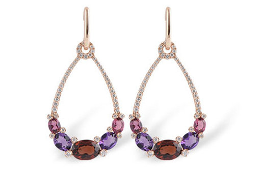 Rose Gold Gemstone and Diamond Earrings