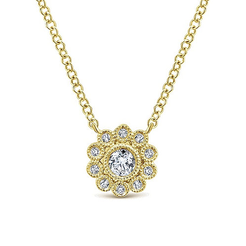 Gabriel & Co. 14k Yellow Gold Floral Fashion Necklace