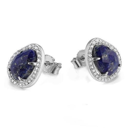 ELLE Jewelry Halo Blue Lapis Silver Stud Earrings