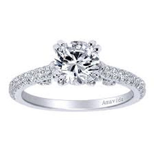 Gabriel & Co. Janine 18k White Gold Round Straight Engagement Ring