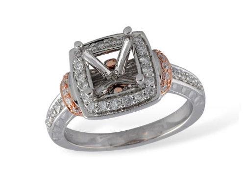 Allison Kaufman 14k Two Tone Halo Engagement Ring