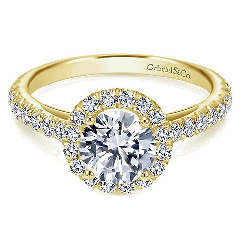 Gabriel & Co. Rachel 14k Yellow Gold Round Halo Engagement Ring