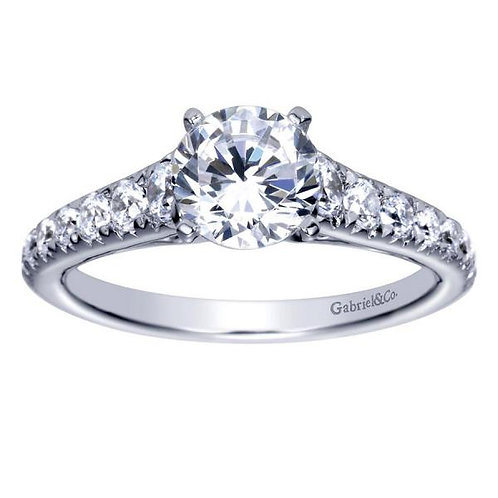 Gabriel & Co. Bridget 14k White Gold Round Straight Engagement Ring