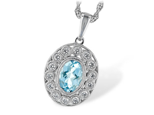 Allison Kaufman 14k White Gold Aquamarine and Diamond Necklace