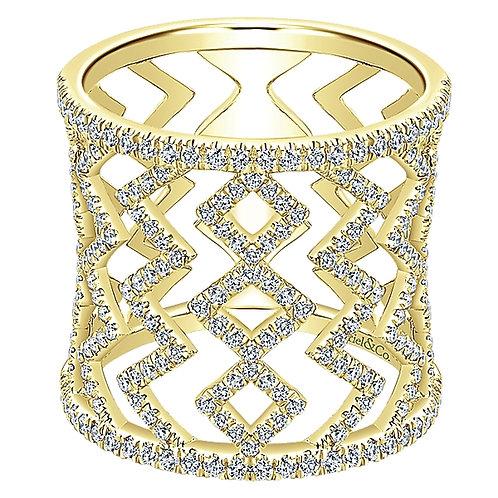 Gabriel & Co. 14k Gold Art Moderne Wide Band Ladies' Ring