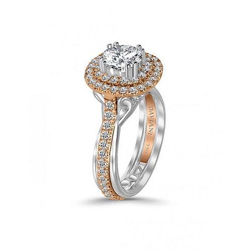 Daviani 19k Two-Tone Double Halo Diamond Engagement Ring