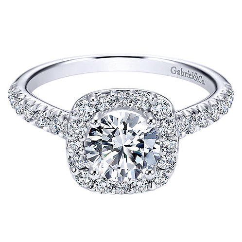Gabriel & Co. Kylie 14k White Gold Round Halo Engagement Ring