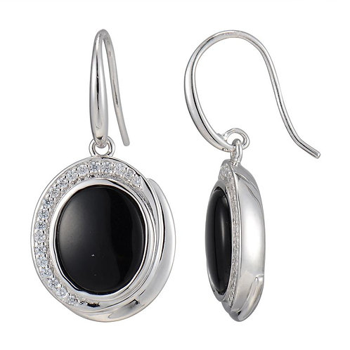ELLE Jewelry Sterling Silver Black Agate & CZ Eurowire Earrings